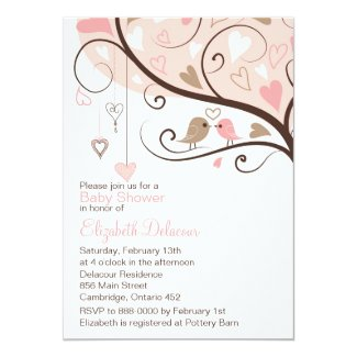 "Whimsical Birds It's a Girl Baby Shower Invitation 5"" X 7"" Invitation Card"