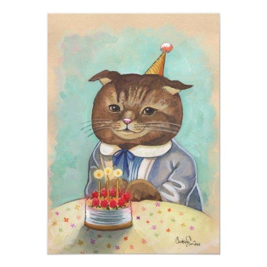 Whimsical Birthday Kitty Invitation