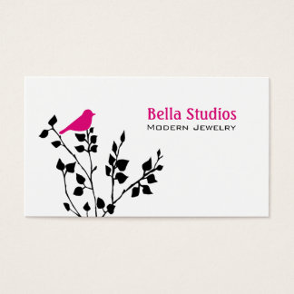 Whimsical Black and Pink Bird Business Card