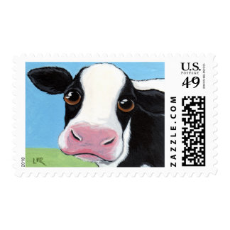 Whimsical Black and White Cow Illustration Postage