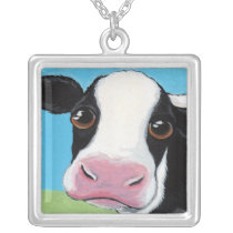 Whimsical Black and White Cow Illustration Silver Plated Necklace