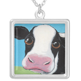 Whimsical Black and White Cow Illustration Square Pendant Necklace