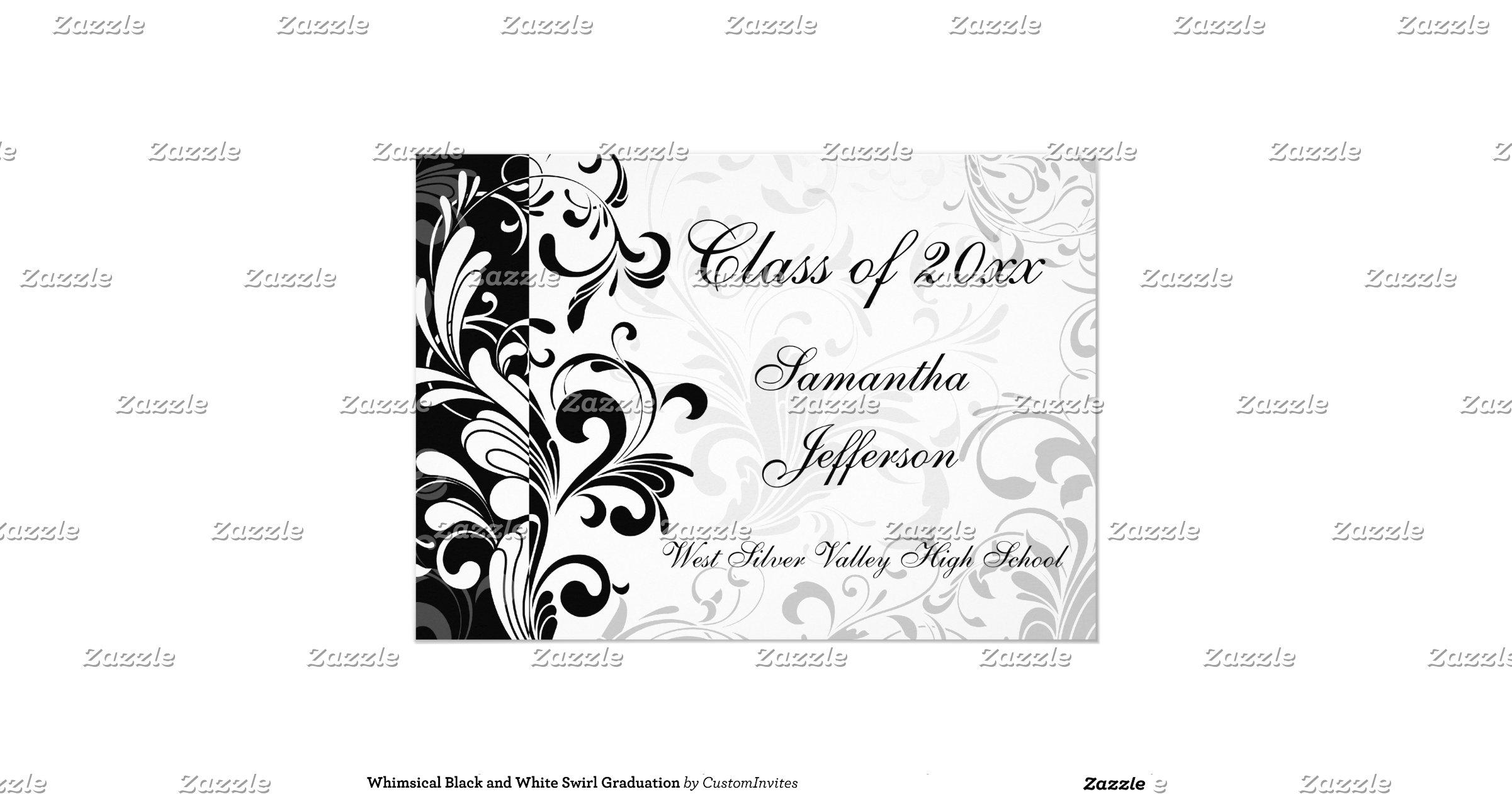 whimsical_black_and_white_swirl_graduation_5x7_paper