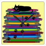 Whimsical Black Cat and Books Clock
