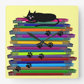 Whimsical Black Cat and Books Clock
