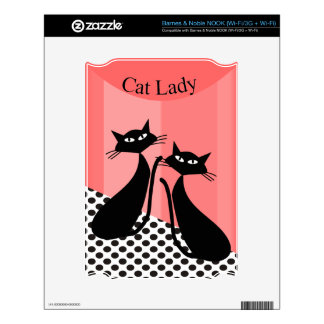 Whimsical Black Cat Art Decals For NOOK