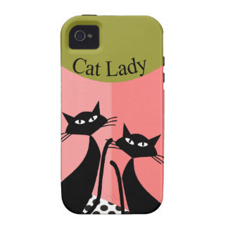 Whimsical Black Cat Art iPhone 4 Cover
