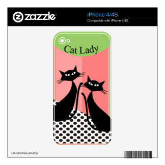 Whimsical Black Cat Art iPhone 4 Decal