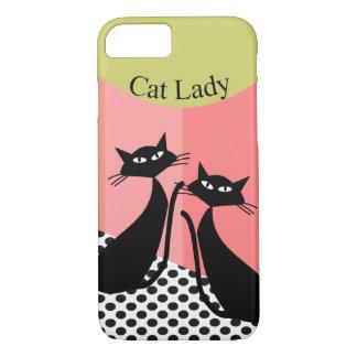 Whimsical Black Cat Art iPhone 8/7 Case