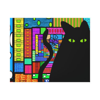 Whimsical Black Cat Art Wrapped Canvas Canvas Print