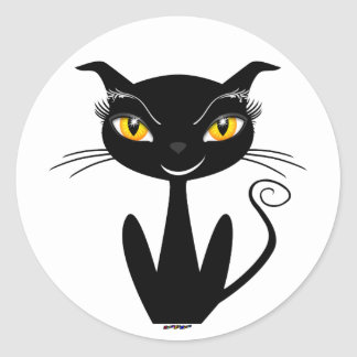 Whimsical Black Cat Classic Round Sticker