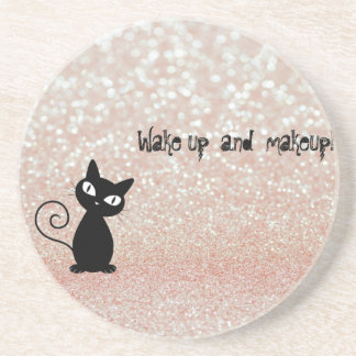 Whimsical  Black Cat Glittery-Wake up and makeup Drink Coaster