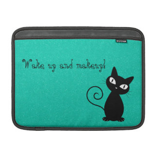 Whimsical Black Cat, Glittery-Wake up and makeup! MacBook Air Sleeve