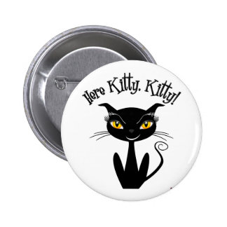 Whimsical Black Cat Here Kitty Kitty Buttons