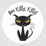 Whimsical Black Cat Here Kitty, Kitty! Classic Round Sticker