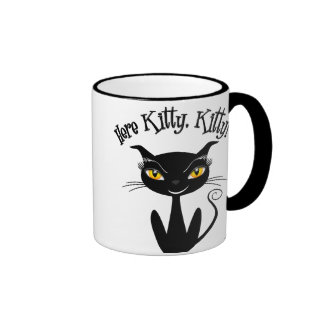 Whimsical Black Cat Here Kitty Kitty Mugs