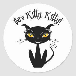 Whimsical Black Cat Here Kitty Kitty Round Sticker