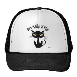 Whimsical Black Cat Here Kitty, Kitty! Trucker Hat