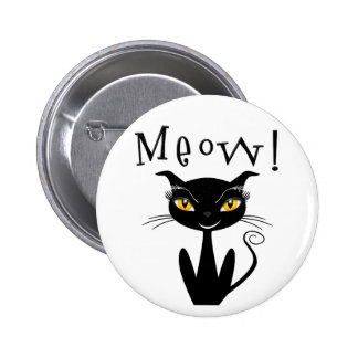 Whimsical Black Cat Meow Pinback Button