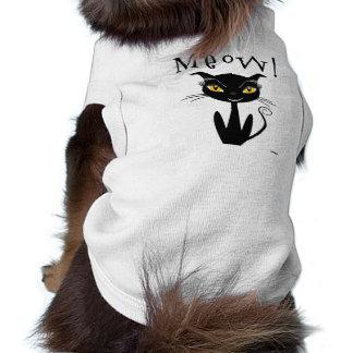 Whimsical Black Cat Meow! Doggie Tee Shirt