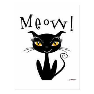 Whimsical Black Cat Meow! Postcard