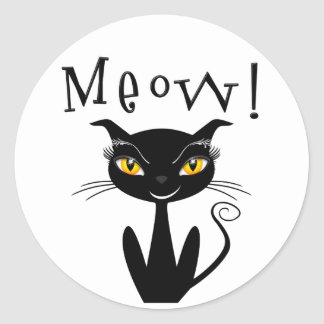 Whimsical Black Cat Meow Sticker