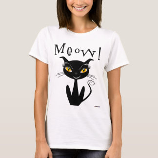 Whimsical Black Cat Meow! T-Shirt