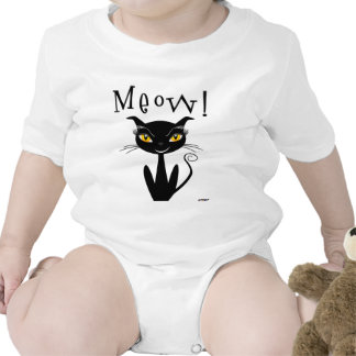 Whimsical Black Cat Meow! T-shirts