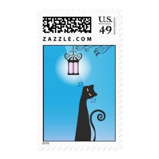 Whimsical Black Cat Postage