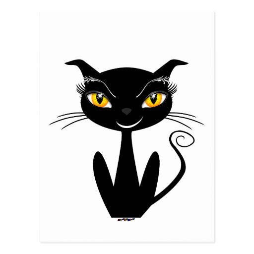 Whimsical Black Cat Postcard