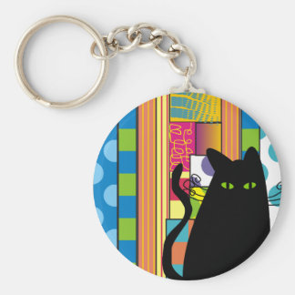 """Whimsical Black Cat  """"The Fat Cat"""" Basic Round Button Keychain"""