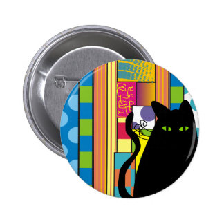"""Whimsical Black Cat  """"The Fat Cat"""" Pinback Button"""