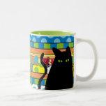 "Whimsical Black Cat  ""The Fat Cat"" Two-Tone Coffee Mug"