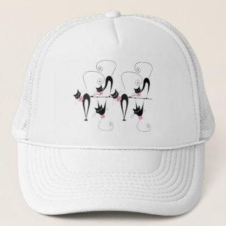 Whimsical black cat triplet trucker hat