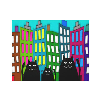 Whimsical Black Cats Art Wrapped Canvas Canvas Print