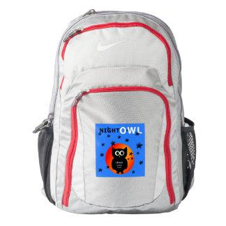 Whimsical Black Owl Sitting on the Moon Nike Backpack