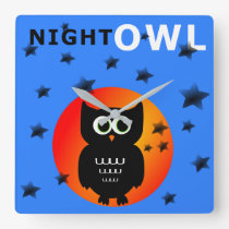 Whimsical Black Owl Sitting on the Moon Square Wall Clock