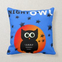 Whimsical Black Owl Sitting on the Moon Throw Pillow
