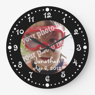 Whimsical Black Personalized Photo Wall Clock