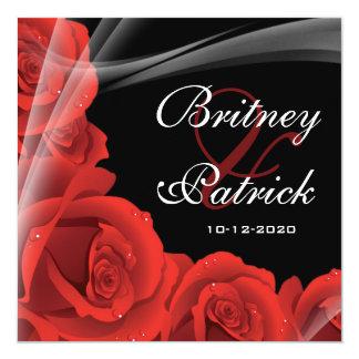 Whimsical Black & Red Rose Wedding Invitations