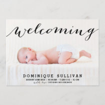 Whimsical Black Script Photo Birth Announcement