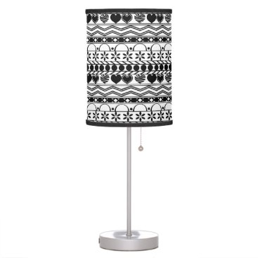 Aztec Themed Whimsical black white aztec striped pattern table lamp
