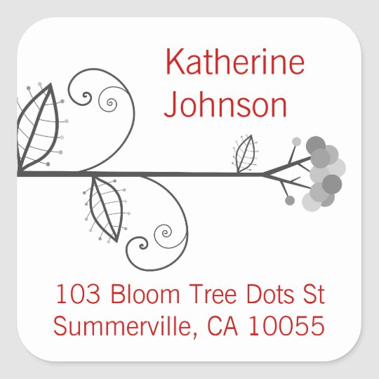 Whimsical Blooms Tree Dots Address Label Stickers