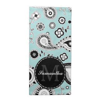 Whimsical Blue and Black Paisley Pattern Monogram Cloth Napkin