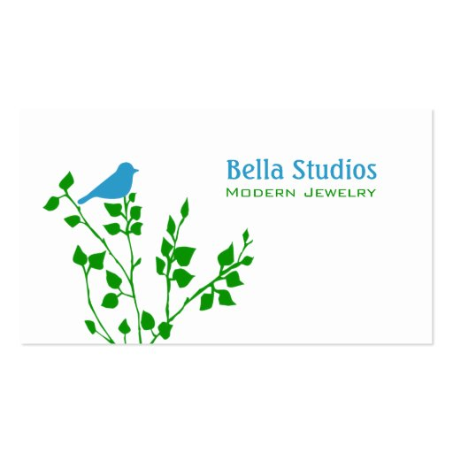 Whimsical Blue and Green Bird Business Card