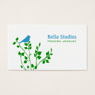 Whimsical Blue and Green Bird Nature Designer Business Card