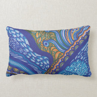 Whimsical Blue and Orange Pillow
