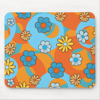Whimsical Blue and Orange Spring Flowers Mouse Pad