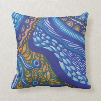 Whimsical Blue and Orange Throw Pillow