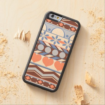 Aztec Themed Whimsical blue and peach striped aztec pattern carved maple iPhone 6 bumper case